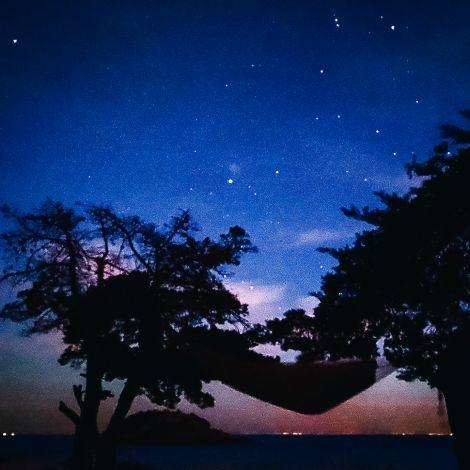 Hängematte zwischen zwei Bäumen unter dem Sternenhimmel.