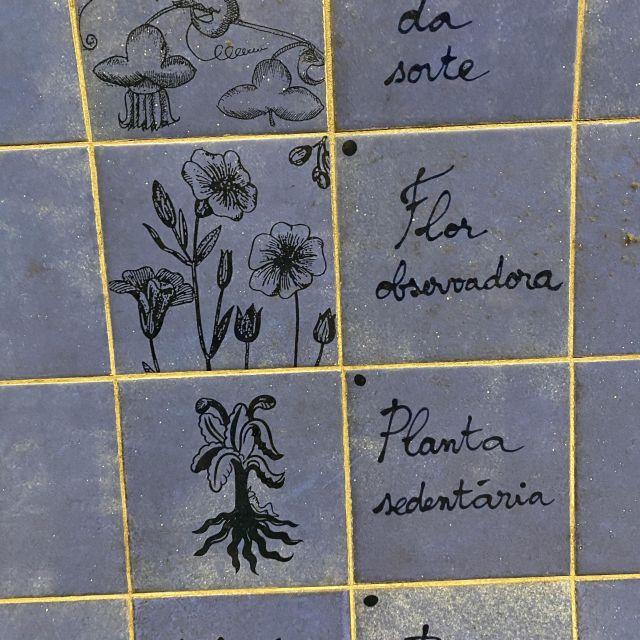 Blaue Kacheln mit Blumenzeichnungen und Text.