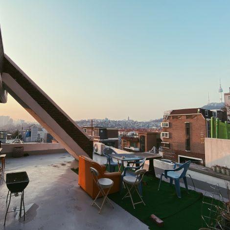 Ausblick von der Dachterrasse der Wohnung der Correspondentin in Seoul