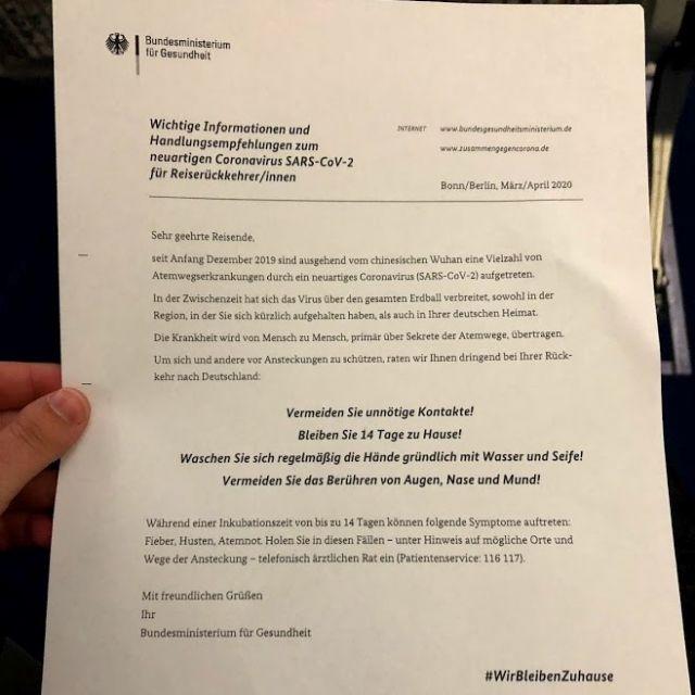 Ein Schreiben vom Bundesministerium für Gesundheit, welches über Reisen während COVID-19 aufklärt.