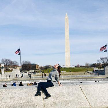 ich vor dem Lincoln Memorial