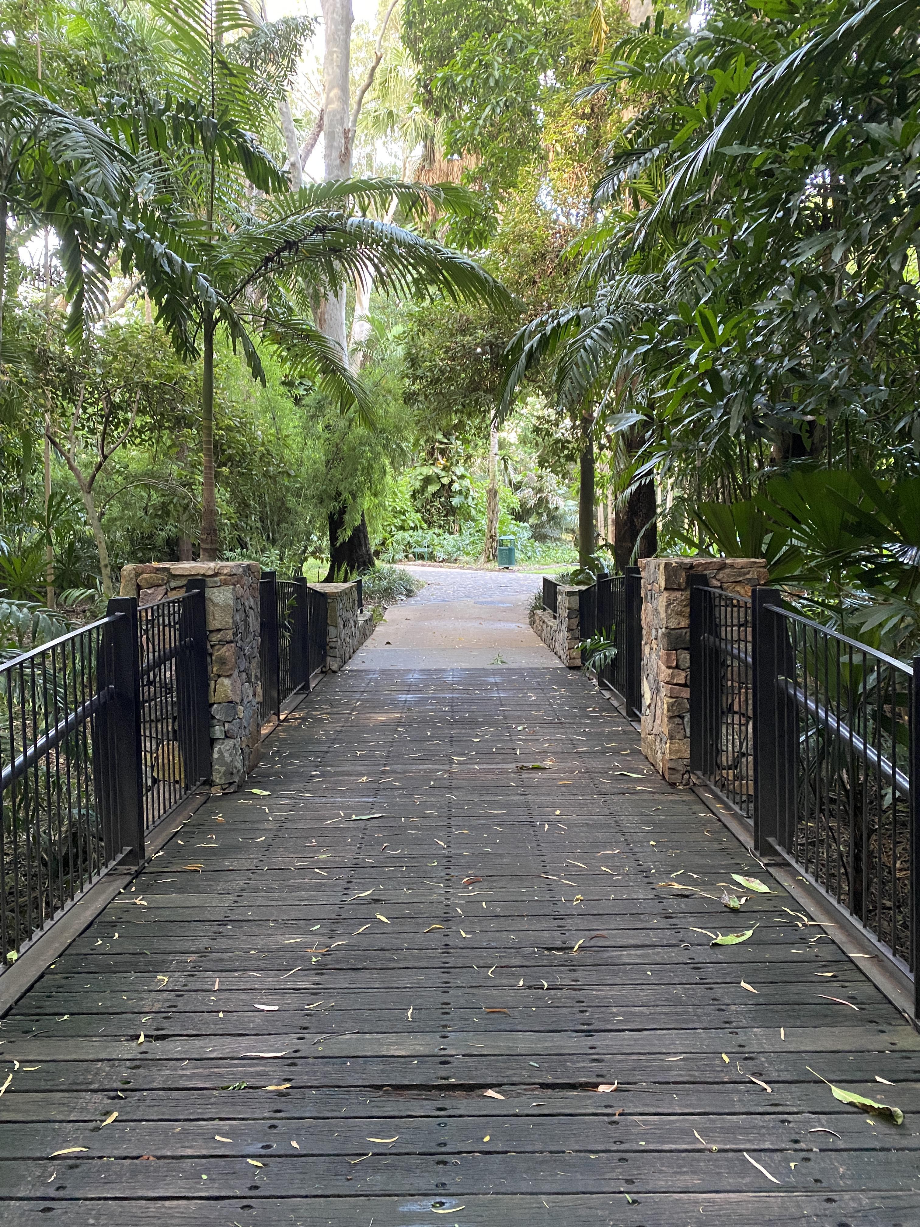 Die Brücke im botanischen Garten