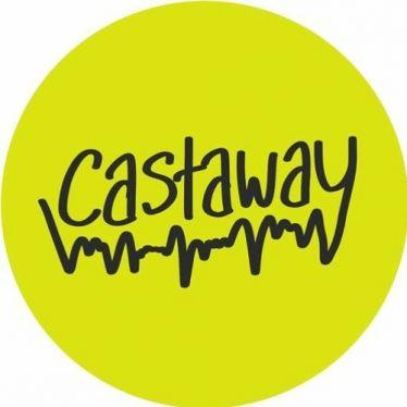 Titelbild von Castaway. Gelber Kreis in dem in Handschrift Castaway steht und mit einer zackigen Linie unterstrichen ist