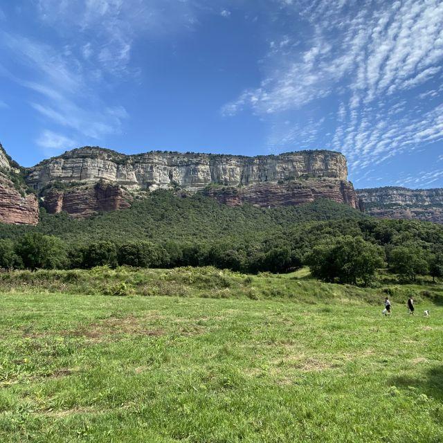 Berge und grüne Wiesen unter blauem Himmel.