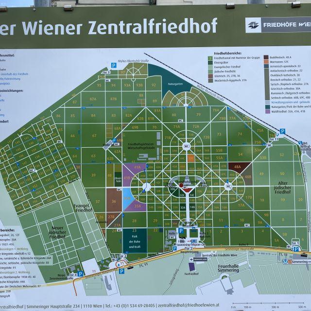 Karte des Wiener Zentralfriedhofs.