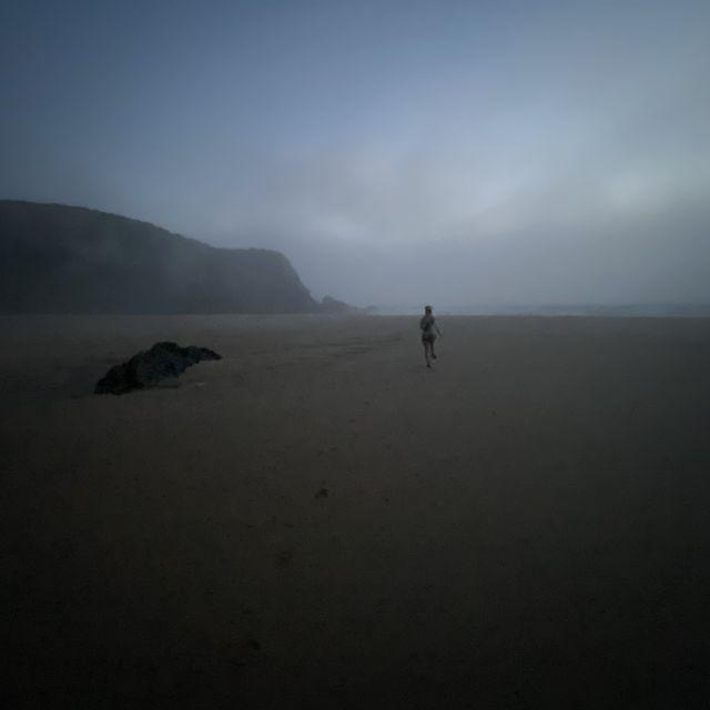 Eine Figur in der Ferne am Strand im Nebel