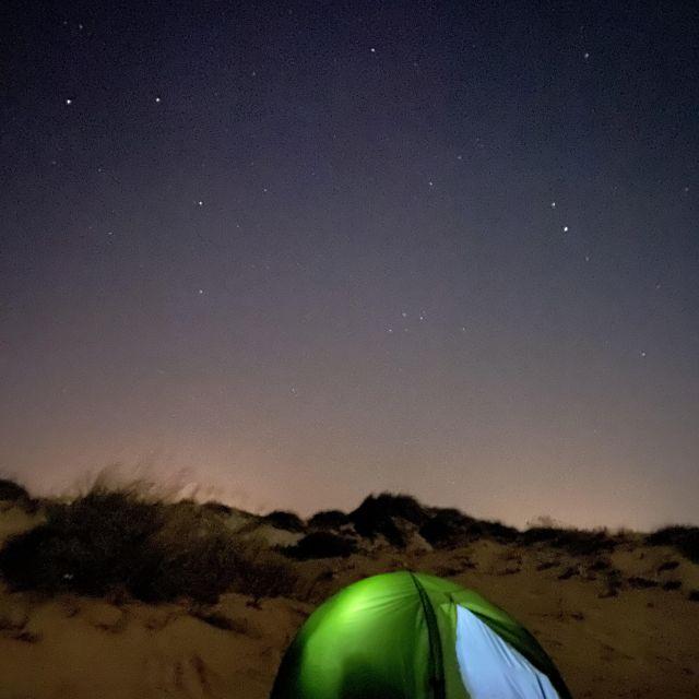 Zelt unterm Sternenhimmel.