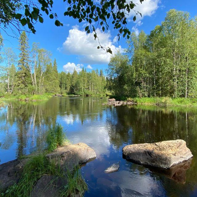 Ein See in einem Waldgebiet