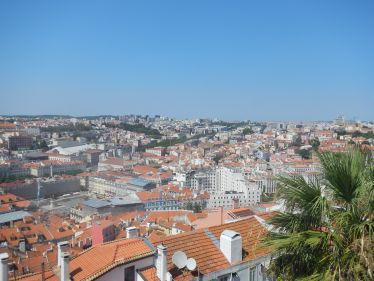 Von der Castelo de São Jorge, der Burg in Lissabon hat man eine wunderschöne Aussicht auf die ganze Stadt.