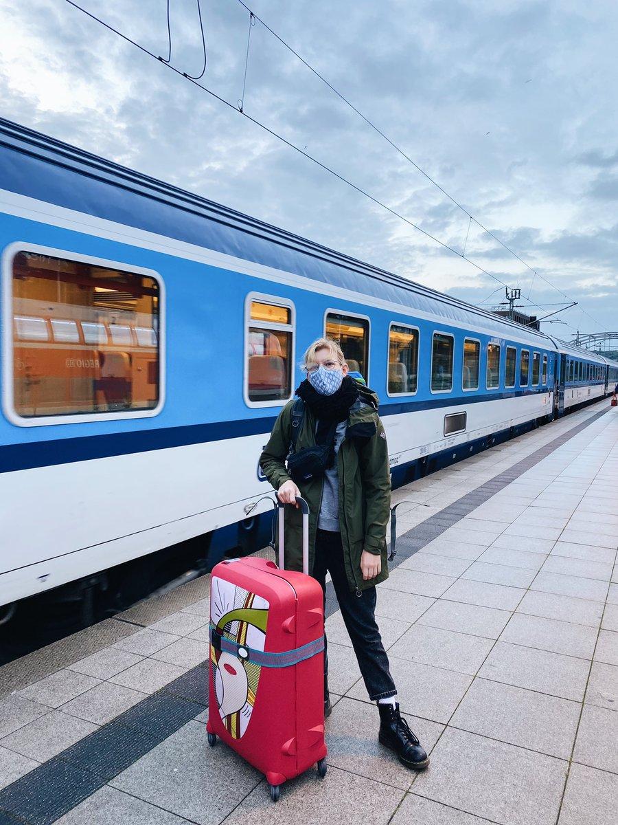 Person steht mit Koffer vor einfahrendem Zug am Gleis