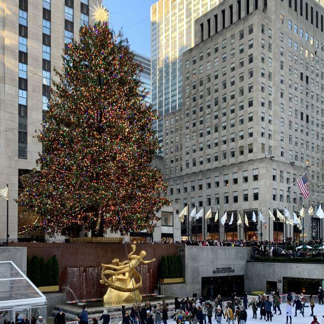 Der Rockefeller Weihnachtbaum. Bunt geschmückt und davor eine Eiskunstbahn.