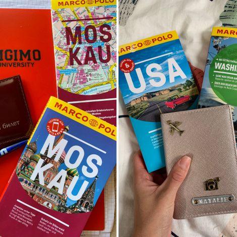 Unterlagen und Reiseführer für Moskau, Russland und Washington D.C, USA.