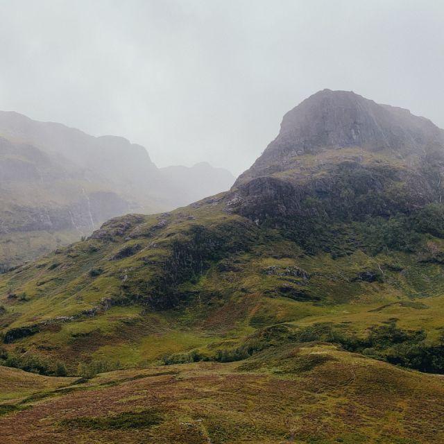 Nebel, grüne, hügelige Landschaft