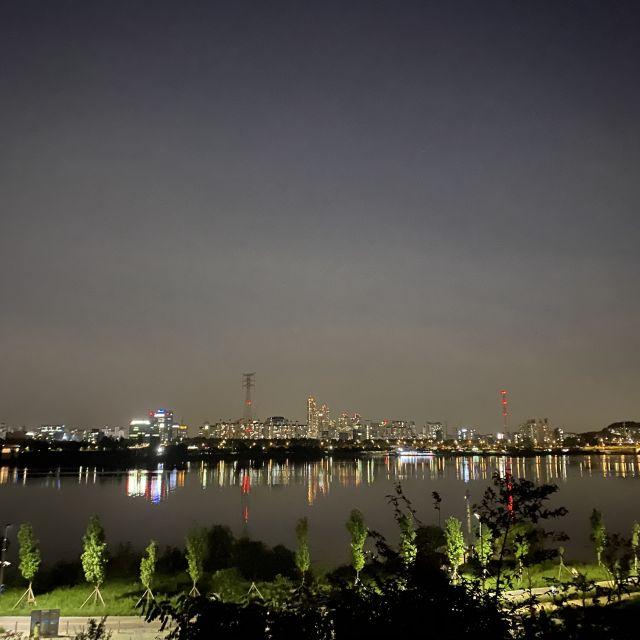 Der nächtliche Anblick der Stadt vom Han River aus