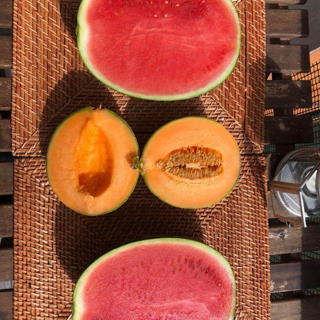 Melonen auf dem Balkon.