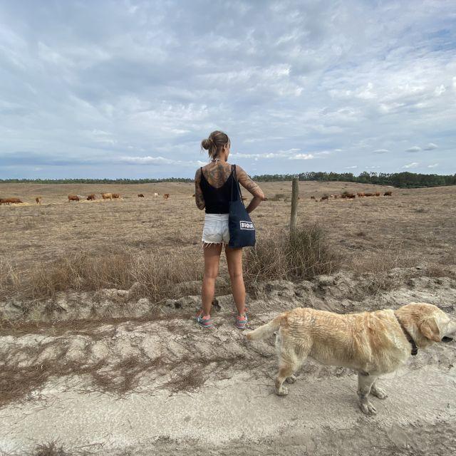 Hund, Frau und Kühe im Hintergrund.