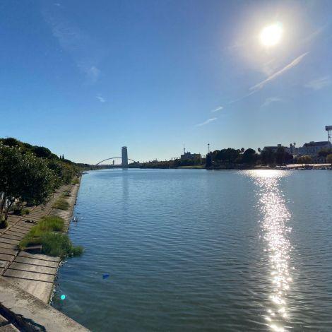Der Fluss Guadalquivir vom Ufer aus fotografiert; Brücke im Hintergrund.