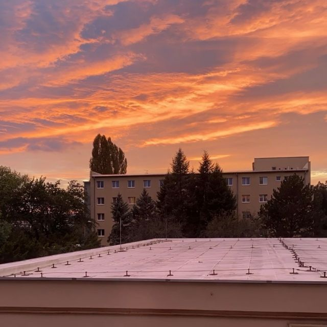 Blick aus dem Fenster in den Sonnenuntergang