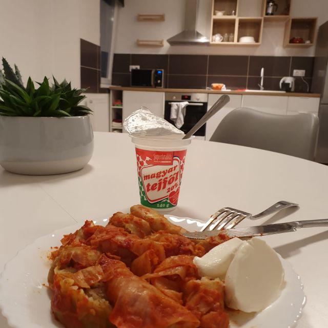 'Töltött Kaposzta' - mein Lieblingsessen in Ungarn. Im Hintergrund ist meine Küchenzeile zu sehen.