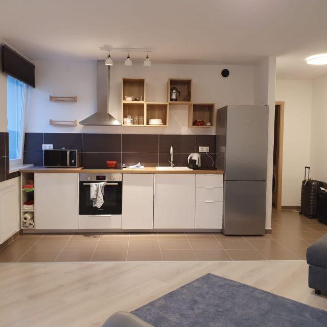 Meine Küchenzeile in der Wohnküche ist sehr modern gehalten.