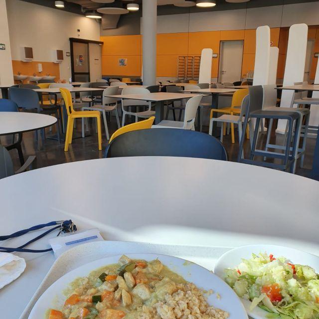 In der Schulmensa esse ich jeden Tag zu Mittag. An diesem Tag gab es Hähnchencurry mit Reis und einem Salat.