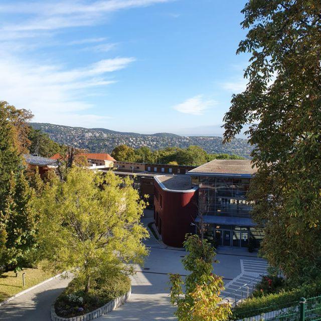 Blick auf die Schule von der Straße aus.