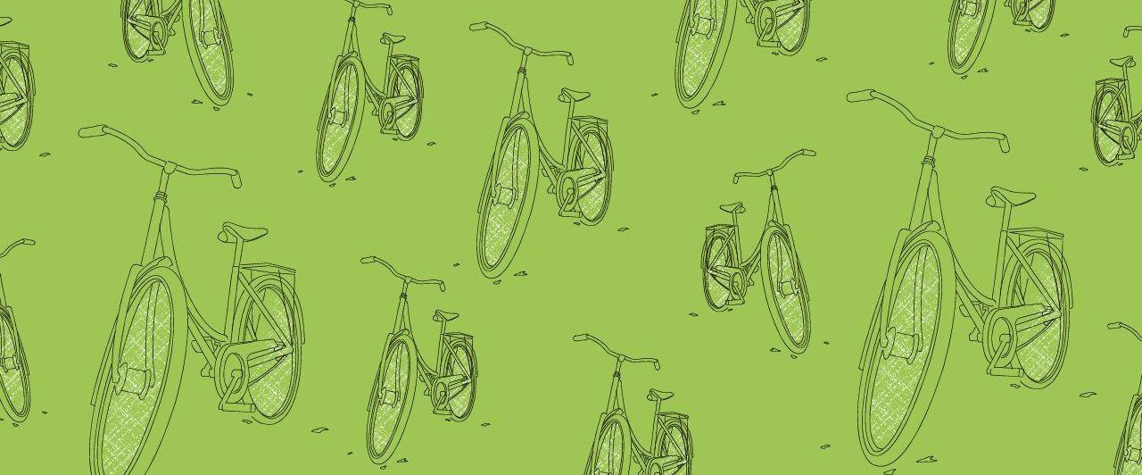 Eine Gruppe illustrierter Fahrräder vor grünem Hintergrund
