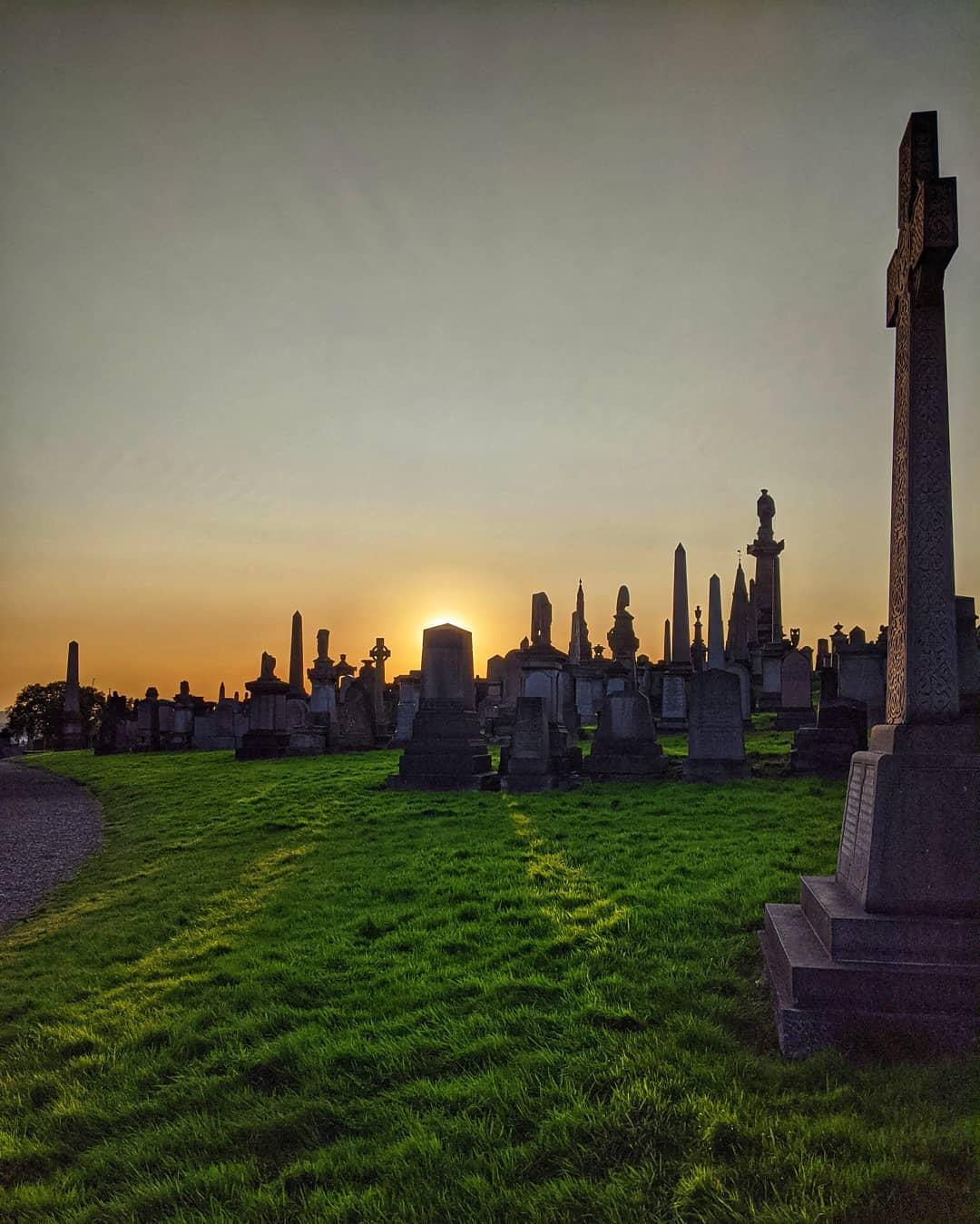 Ein Friedhof als Erholungspark? In der Glasgow Necropolis wird mit Hunden Gassi…