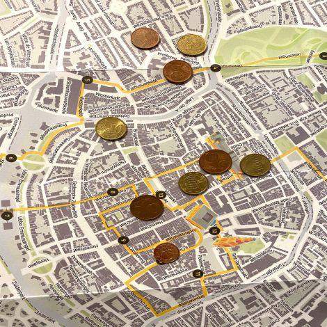 Karte von Groningen mit Geldmünzen