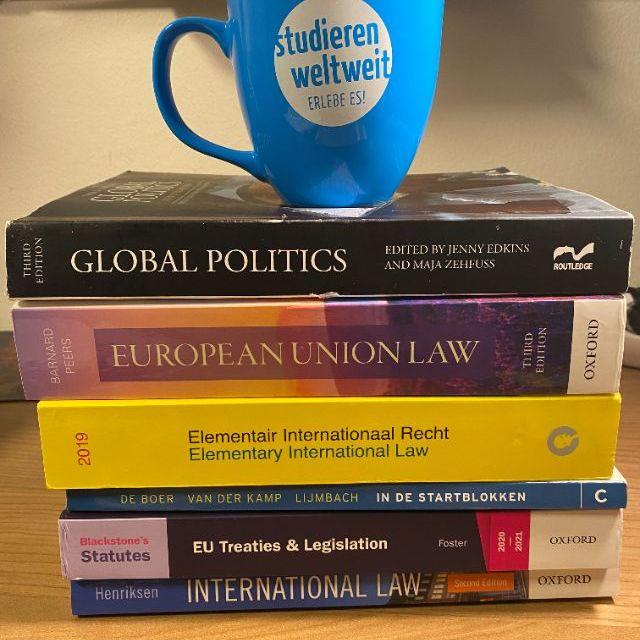 """Man sieht einen Stapel Bücher passend zum Studium und eine blaue Tasse mit der Aufschrift """"studieren weltweit""""."""