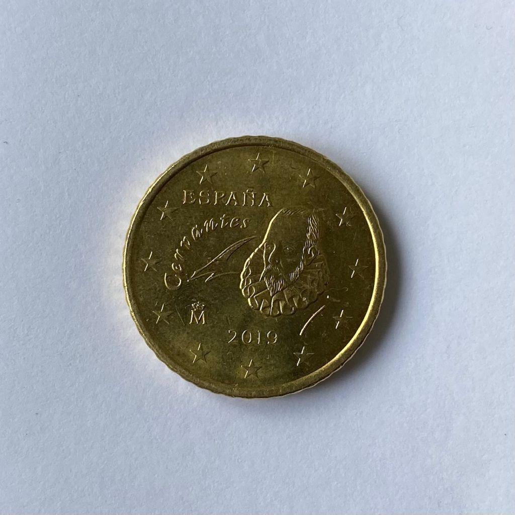 Miguel de Cervantes auf der Rückseite einer spanischen 50-Cent-Münze.