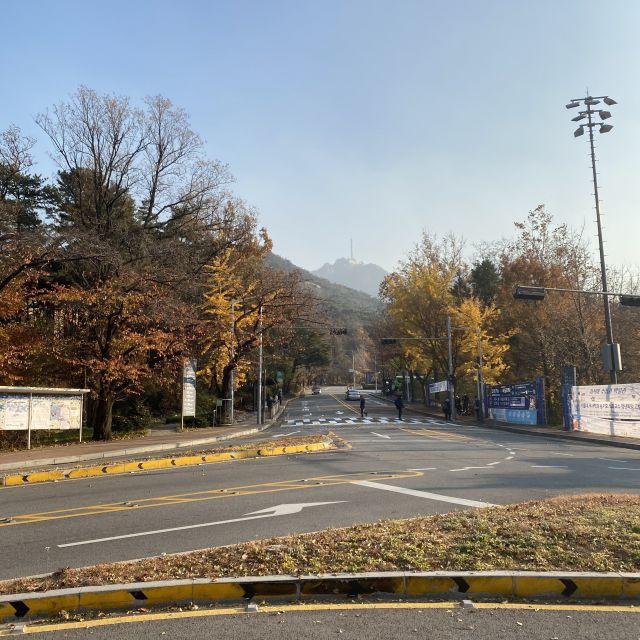 Eine leere Verkehrskreuzung auf dem Campus mit Blick auf eine Bergspitze in der Ferne