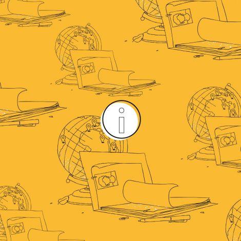 Eine Grafik mit Illustrationen einer Bewerbungsmappe und einem Globus.