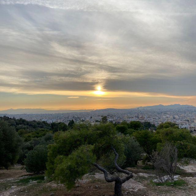 Zu sehen ist der Sonnenuntergang bei bewölktem Himmel über der Stadt. Im Vordergrund befindet sich ein kleiner Wald aus Olivenbäumen.