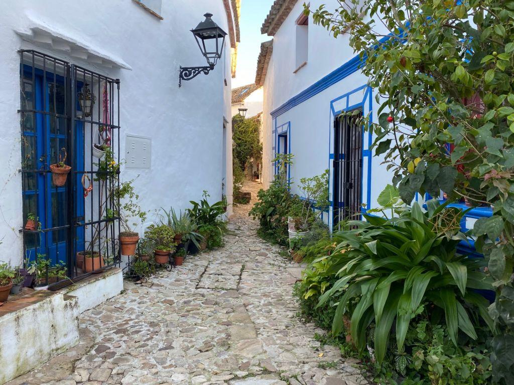 Gasse zwischen zwei weißen Häusern mit blauen Fenstern über Steinboden.