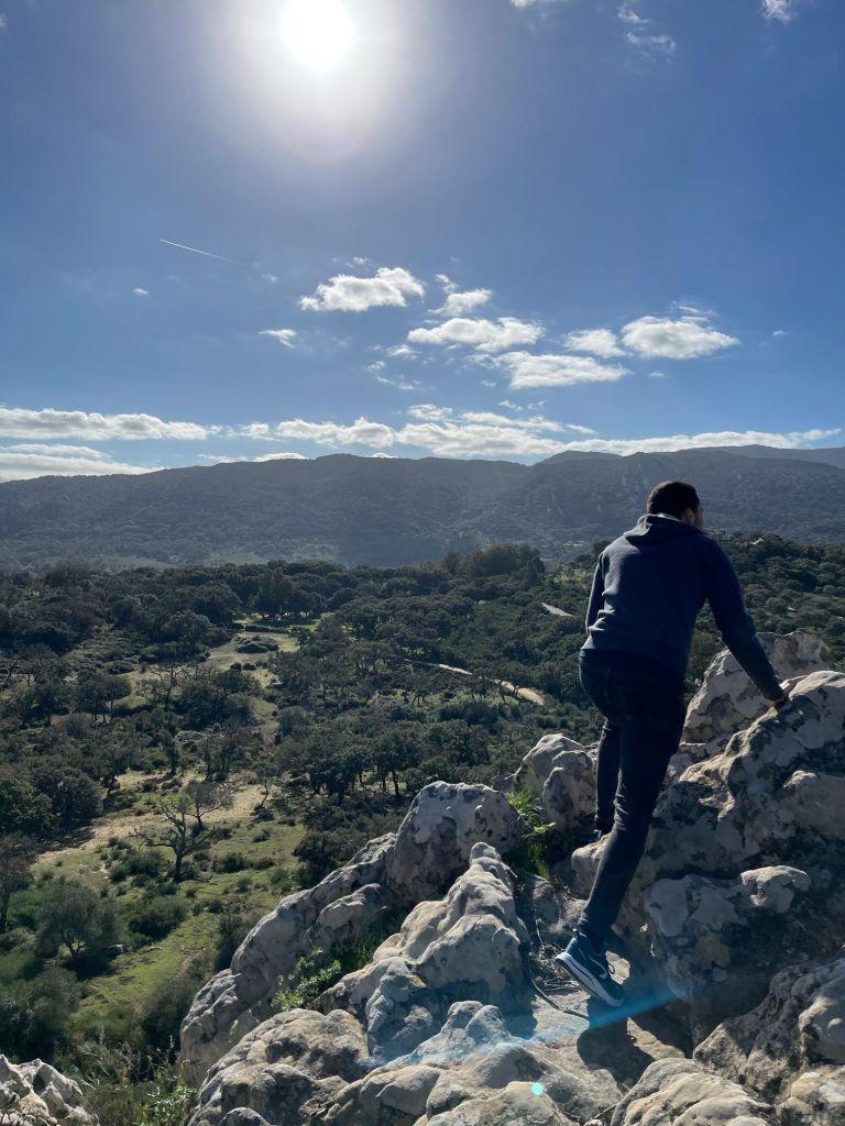 Junger Mann von hinten klettert auf allen vieren über Steinbrocken - im Hintergrund eine Landschaft mit Bäumen und Bergen.
