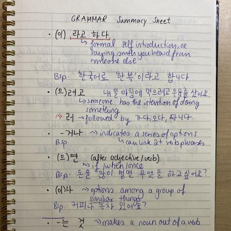 Ein Blatt mit Regeln der koreanischen Grammatik