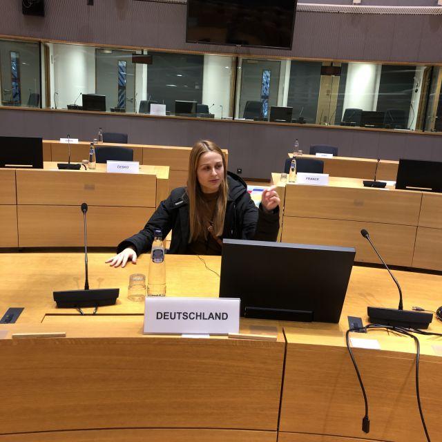 Ich sitze im Konferenzraum vor dem Schild Deutschland.