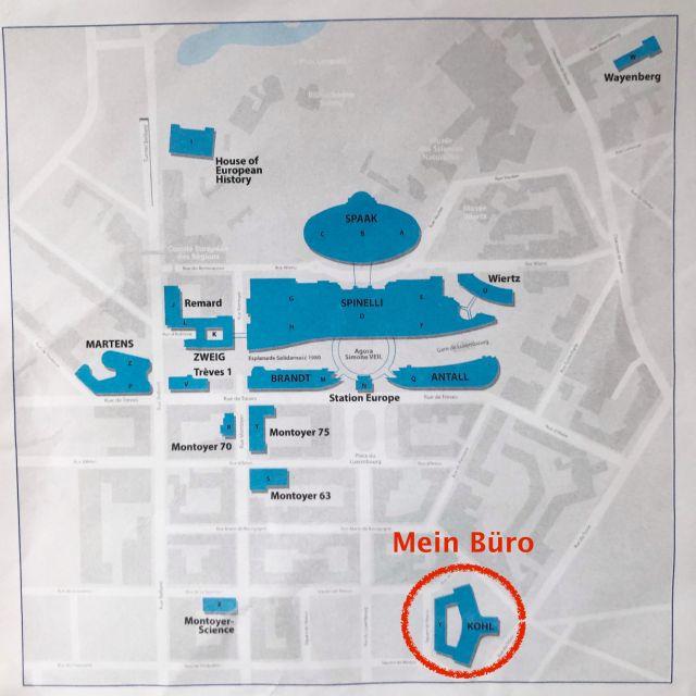 Gebäudeplan vom Europäischen Parlament.