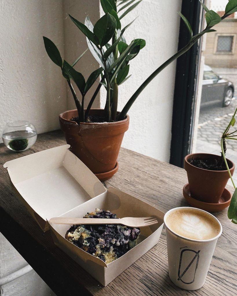 Foto von einem Kaffee und Kuchen mit Pflanzen im Hintergrund