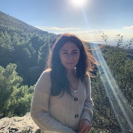 Im Hintergrund sind die Wälder Athens zu sehen. Im Vordergrund stehe ich (Mädchen mit braunen Haaren und braunen Augen) und lächle in die Kamera. Am Himmel ist die Sonne zu sehen, die mich blendet.
