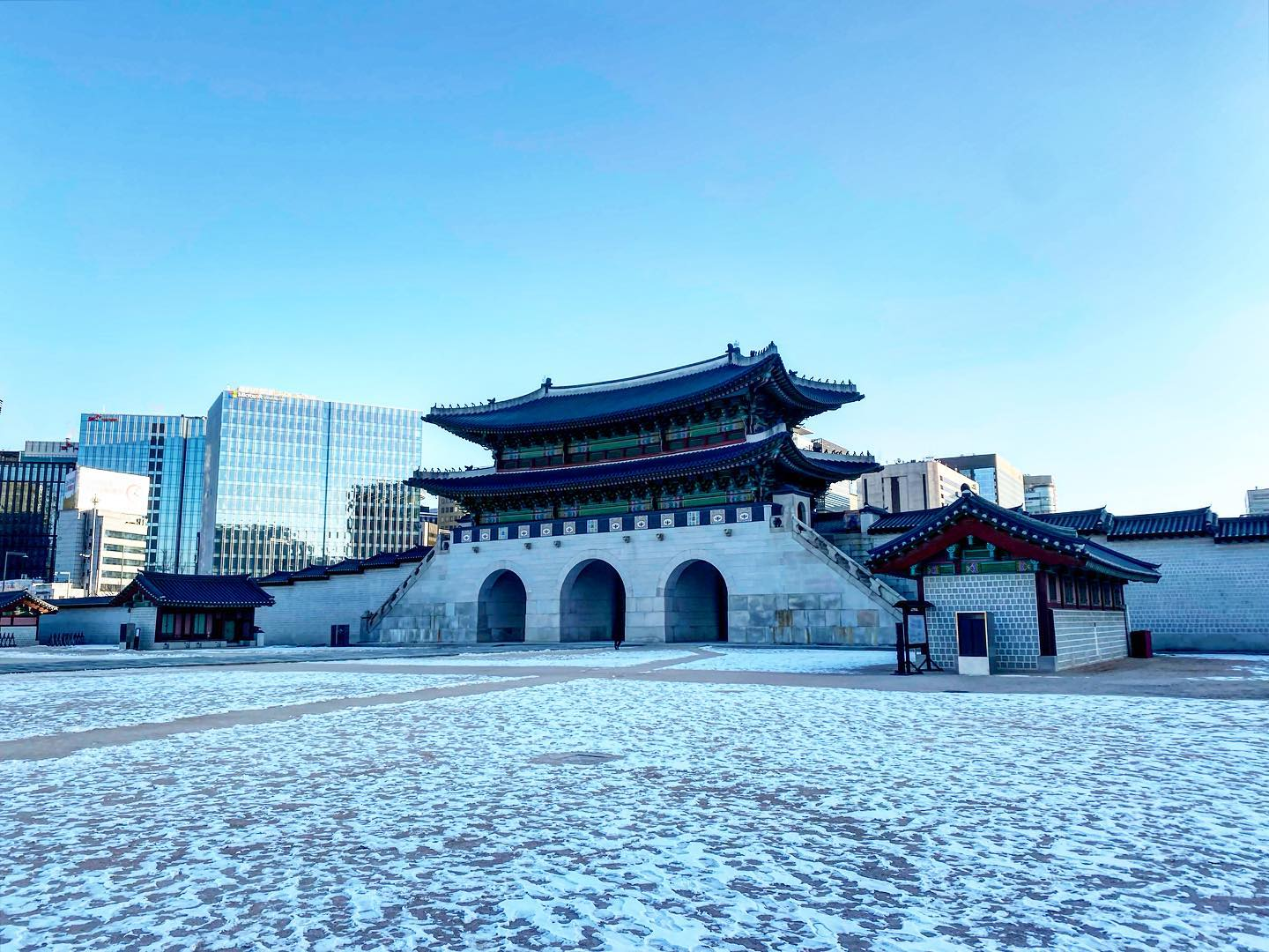 Gyeongbokgung Palace [경복궁] in winter. Usually it's crowded with…