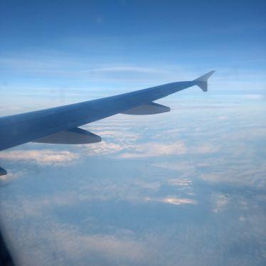 Blick aus dem Flugzeug auf dem Weg nach Island