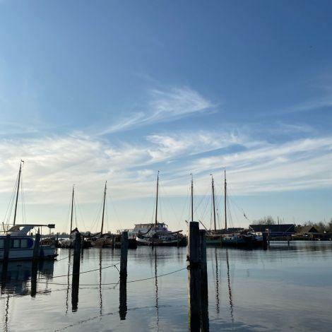 Man sieht einen Hafen und Segelboote.