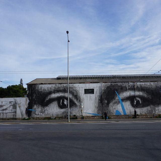 Das Kunstwerk befindet sich auf einer Wand in der Nähe einer Hauptstraße. Es zeigt die Augen der Mona Lisa von Da Vinci.