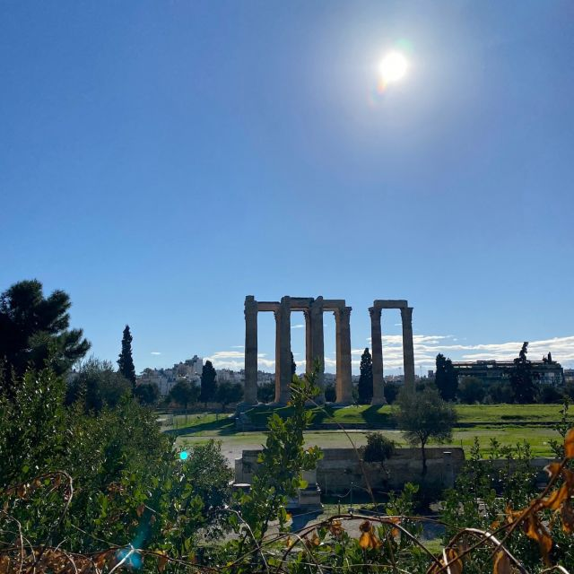 Im Vordergrund sind viele grüne Büsche und Blumen zu sehen, die den Zeus-Tempel im Hintergrund umranden.