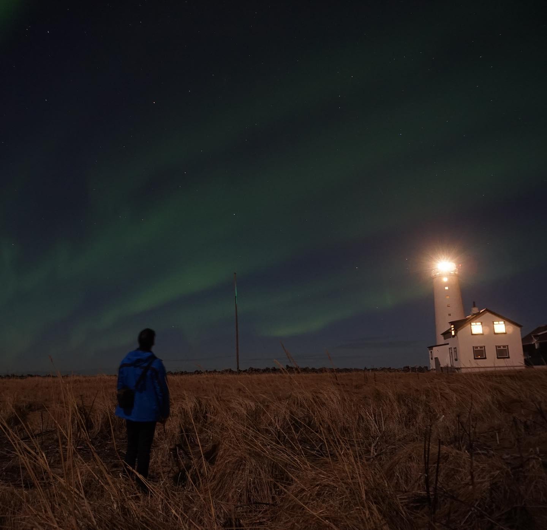 Nordlichter am Reykjaviker Leuchtturm.…