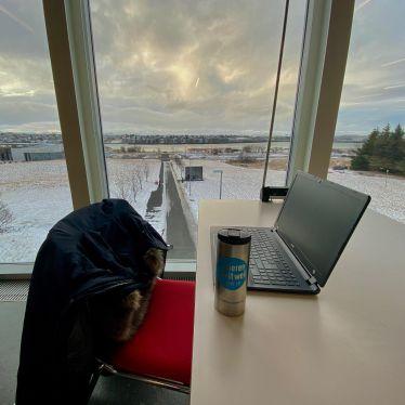 Ausblick beim Lernen an der @haskolinnireykjavik …