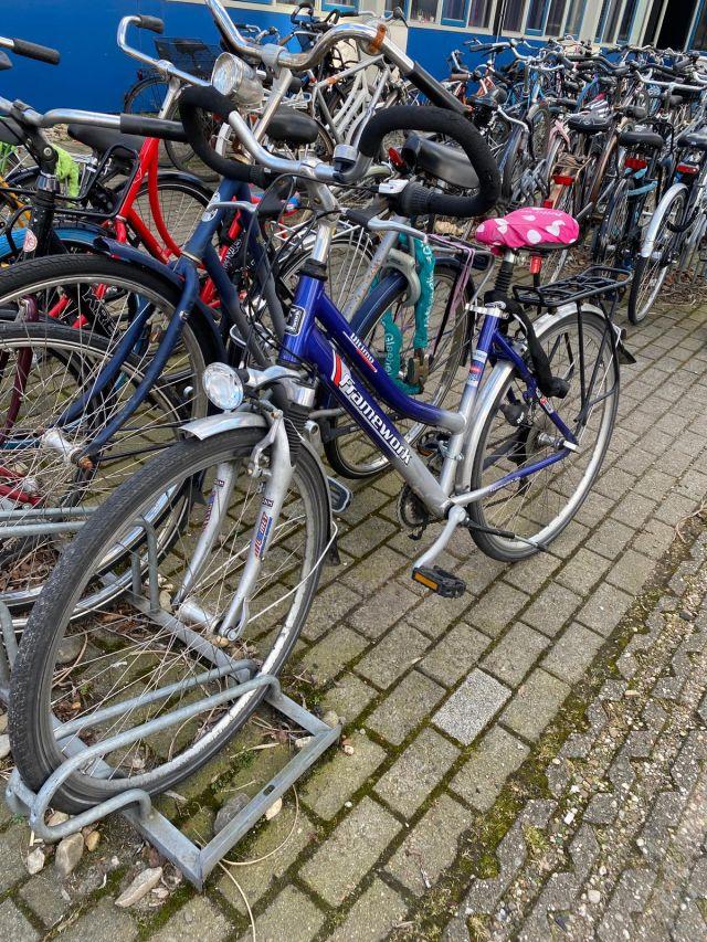 Man sieht ein Fahrrad. Es ist blau und hat einen Schaumstofflenker. Es hat eine rosa weiß gepunktete Haube gegen Regen .