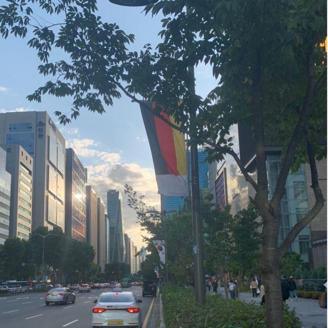 Straße in Gangnam mit deutscher Flagge im Hintergrund